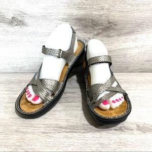 Naot 'Paris' Metallic Strappy Heeled Sandal Shoe